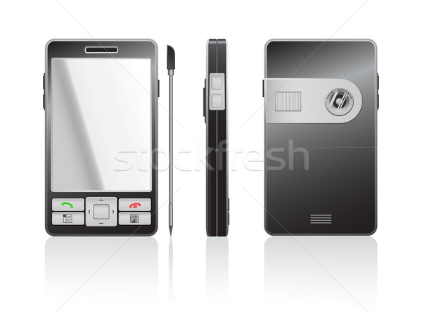 Vector photorealistic illustration of a black PDA Stock photo © Elisanth