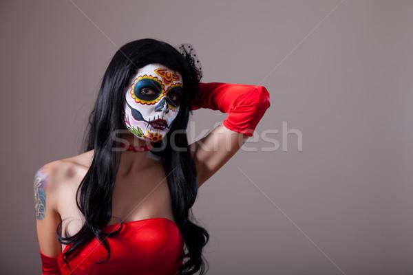 Suiker schedel meisje rode jurk exemplaar ruimte vrouw Stockfoto © Elisanth