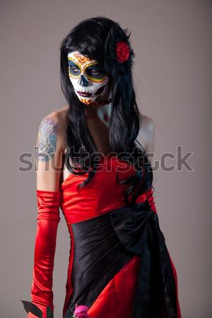 Raio crânio menina vermelho vestido de noite halloween Foto stock © Elisanth