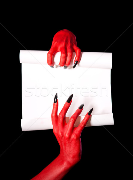 Photo stock: Rouge · diable · mains · papier · vierge · défiler