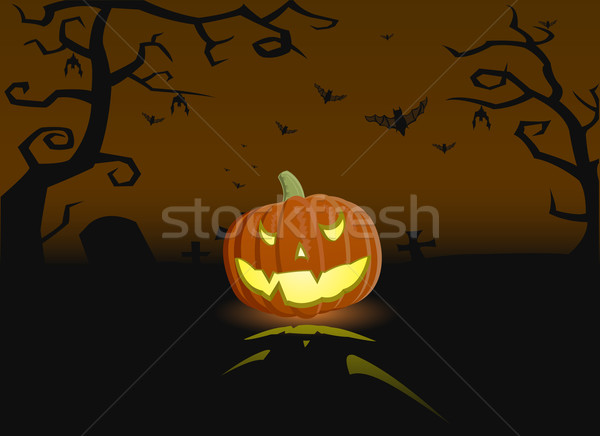 Vector illustration of an evil pumpkin on the grave Stock photo © Elisanth