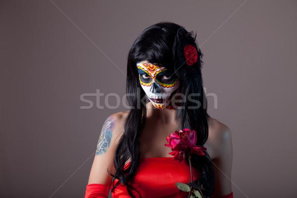 ストックフォト: 肖像 · 砂糖 · 頭蓋骨 · 少女 · 赤いバラ · 日