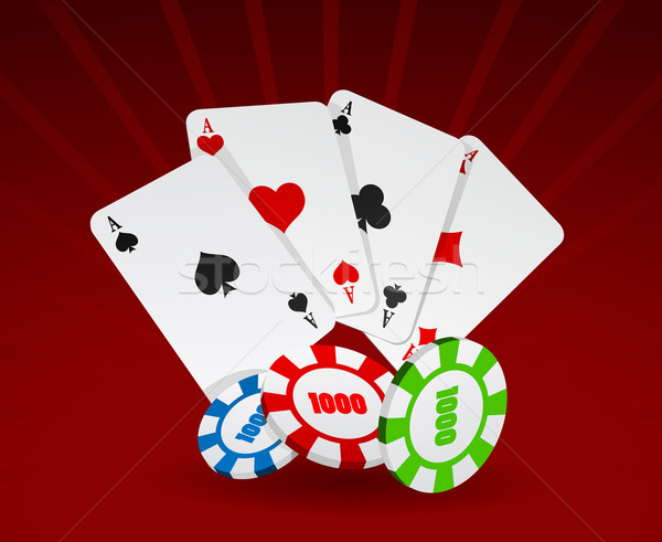 Vector illustration of cards and chips   Stock photo © Elisanth