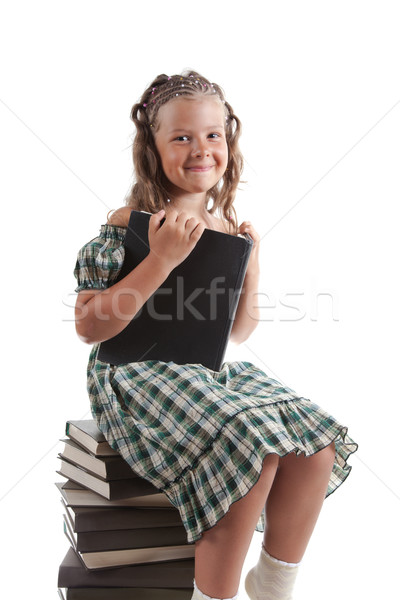 ストックフォト: 女の子 · 座って · 図書 · 孤立した · 白