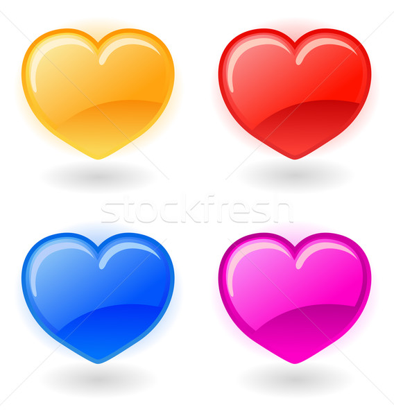 Establecer vector corazones blanco corazón Foto stock © Elisanth