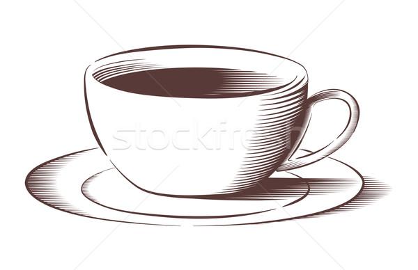 Vector koffiekopje gegraveerd stijl schotel kleur Stockfoto © Elisanth