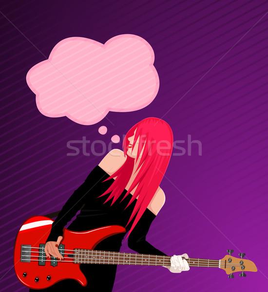 Sonriendo rock nina guitarra bocadillo rojo Foto stock © Elisanth