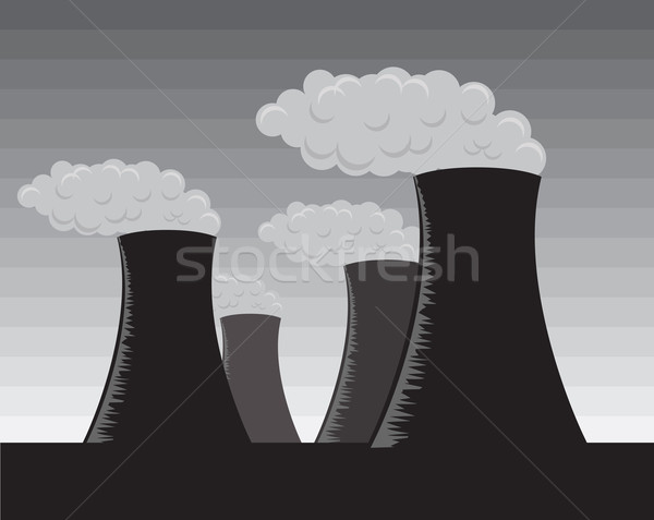 Vector industrial factories, grayscale Stock photo © Elisanth