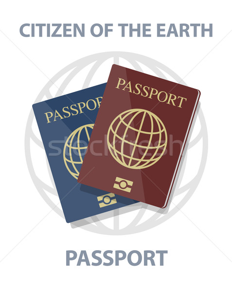 Vector illustration of biometric passports with globe, citizen o Stock photo © Elisanth