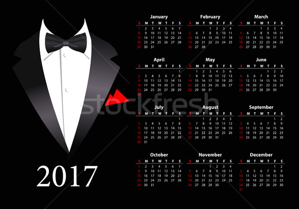 Vector American calendar 2017 with elegant suit  Stock photo © Elisanth