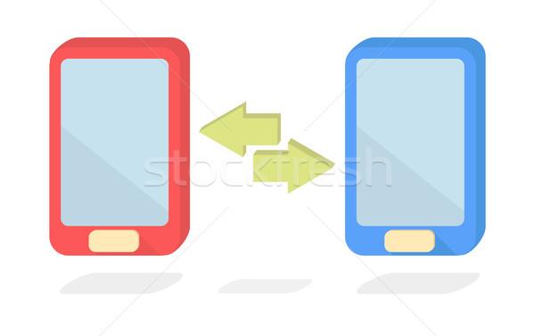 ベクトル スマートフォン データ 転送 電話 ネットワーク ストックフォト © Elisanth
