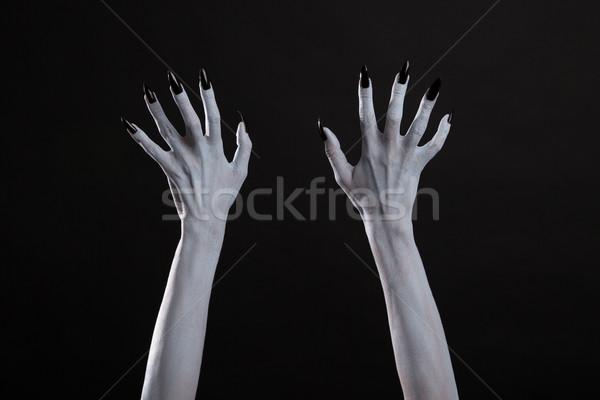 Fehér boszorkány kezek éles fekete körmök Stock fotó © Elisanth