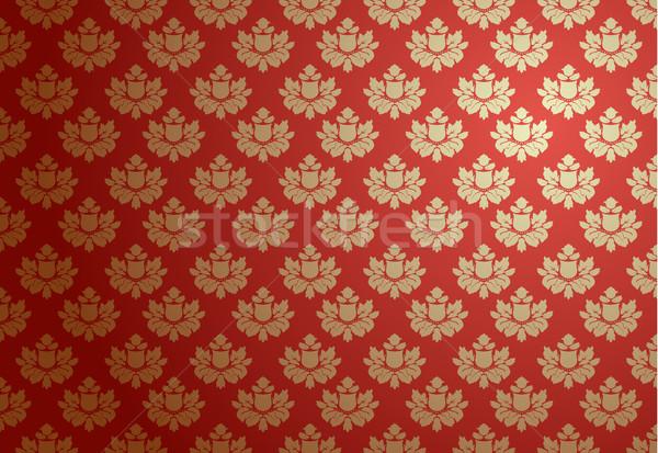 золото красный гламур шаблон цветок текстуры Сток-фото © Elisanth