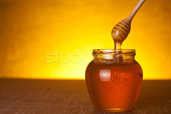 Honey jar with dipper  Stock photo © Elisanth