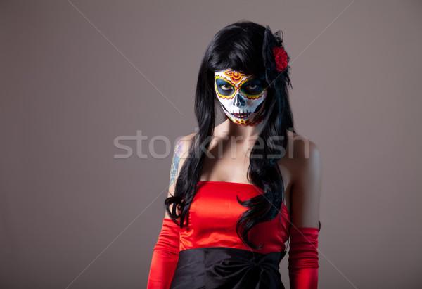 ストックフォト: 砂糖 · 頭蓋骨 · 少女 · 日 · 死んだ · ハロウィン