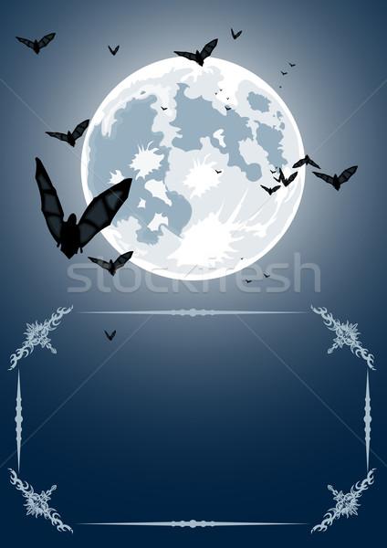 Stock fotó: Vektor · halloween · keret · hold · valósághű · háttér