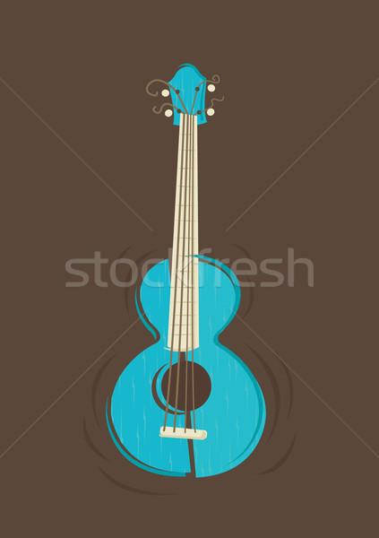 Vector gitaar vintage bruin muziek hout Stockfoto © Elisanth