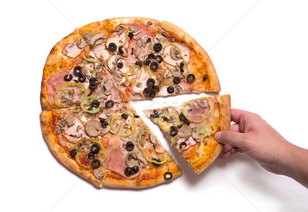 Mannelijke hand omhoog smakelijk pizza slice Stockfoto © Elisanth