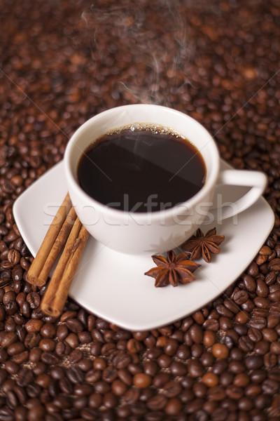 чашку кофе корицей анис специи кофе текстуры Сток-фото © Elisanth