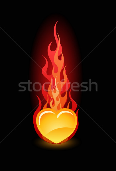 Vector illustration of a heart in fire Stock photo © Elisanth