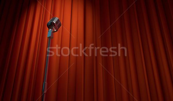 3D レトロな マイク 赤 カーテン ストックフォト © Elisanth