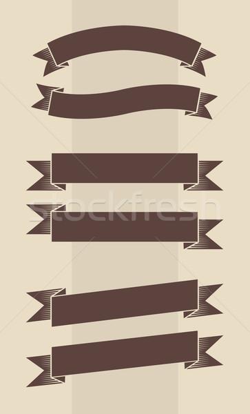 Vecteur vintage gravé bannières brun Photo stock © Elisanth