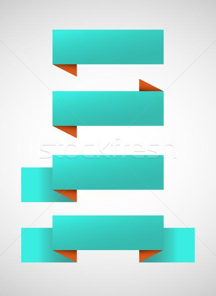 Vektör ayarlamak parlak mavi afişler turuncu Stok fotoğraf © Elisanth