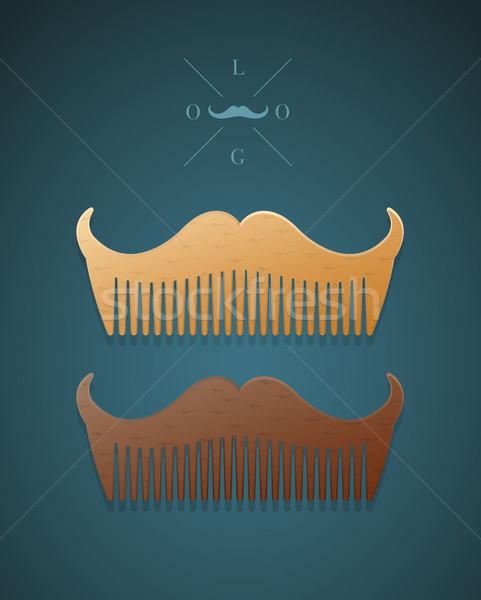 Vector illustration of stylish comb in shape of mustaches  Stock photo © Elisanth