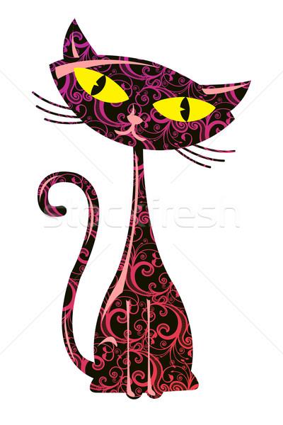 Virágmintás macska aranyos absztrakt háttér szín Stock fotó © Elisanth