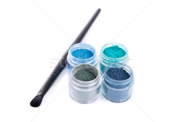 Set of mineral eye shadows with make-up brush  Stock photo © Elisanth