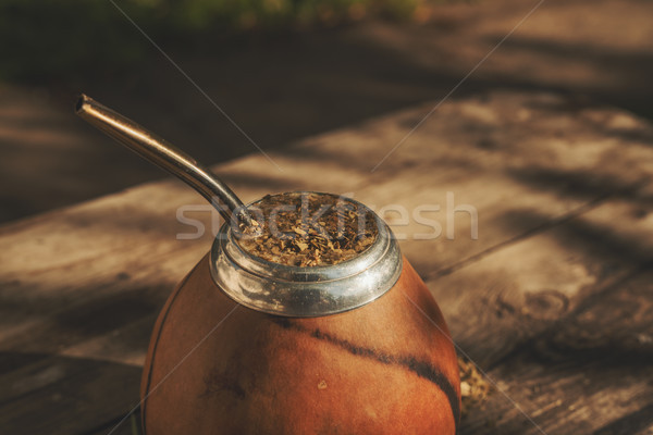 Close-up shot of Argentinean yerba mate drink  Stock photo © Elisanth
