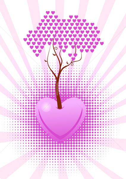 Vetor árvore amor rosa corações abstrato Foto stock © Elisanth