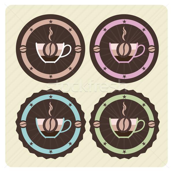 Foto stock: Establecer · vector · café · iconos · vintage