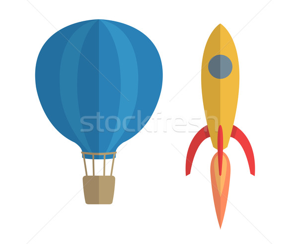 Vector illustration of air balloon and rocket  Stock photo © Elisanth