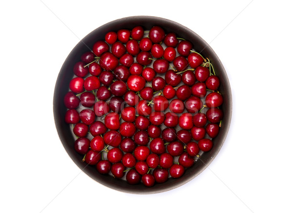 Top view of red cherry in round baking tin  Stock photo © Elisanth