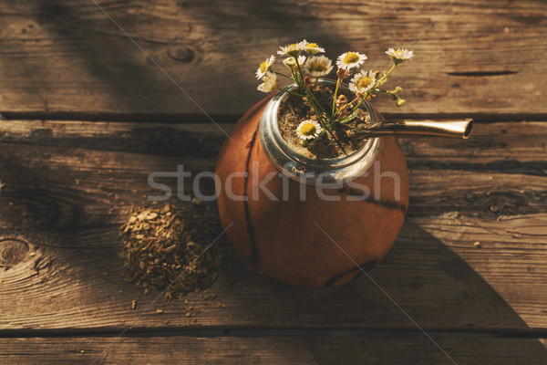 High angle view of  Argentinean yerba mate drink  Stock photo © Elisanth