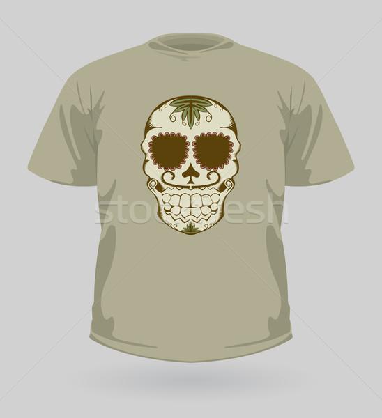 Tshirt esmer şeker kafatası dekoratif halloween moda Stok fotoğraf © Elisanth