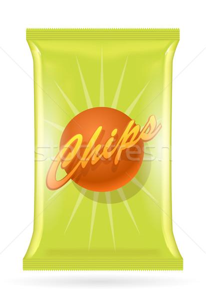 вектора картофельные чипсы сумку изолированный белый eps10 Сток-фото © Elisanth