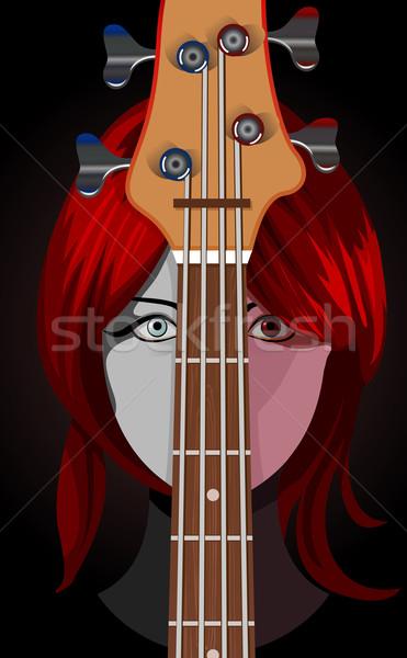 Nina guitarra mujer diseno arte retrato Foto stock © Elisanth