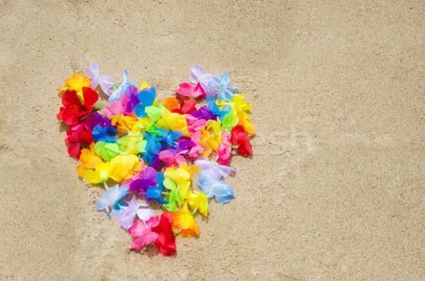 心臓の形態 ビーチ 花 砂浜 愛 砂 ストックフォト © EllenSmile
