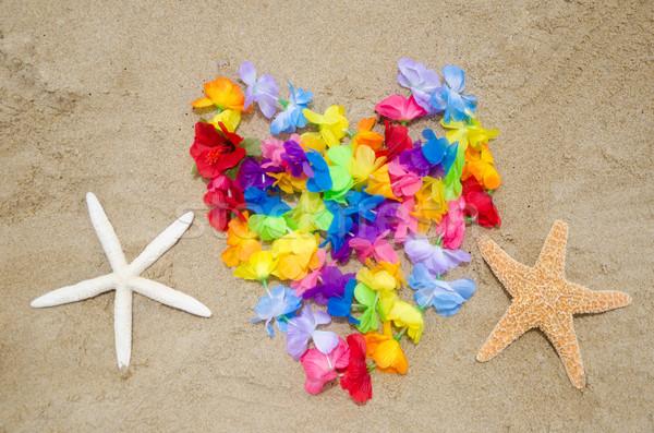 Forma de coração praia flores dois amor natureza Foto stock © EllenSmile