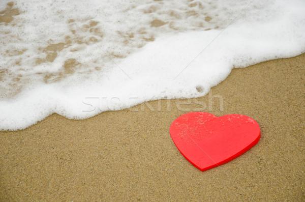心臓の形態 ビーチ 赤 砂浜 波 ストックフォト © EllenSmile