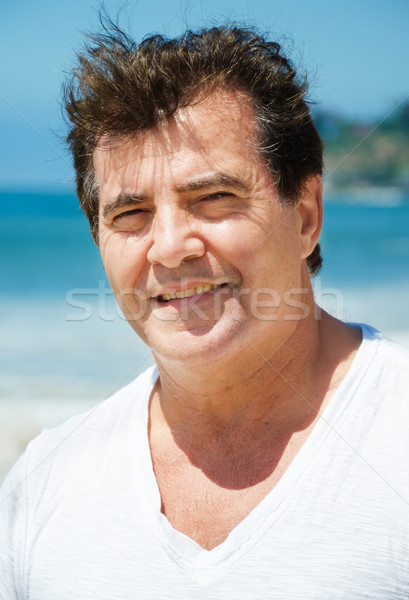 男 肖像 幸せ ギリシャ語 ビーチ 水 ストックフォト © EllenSmile