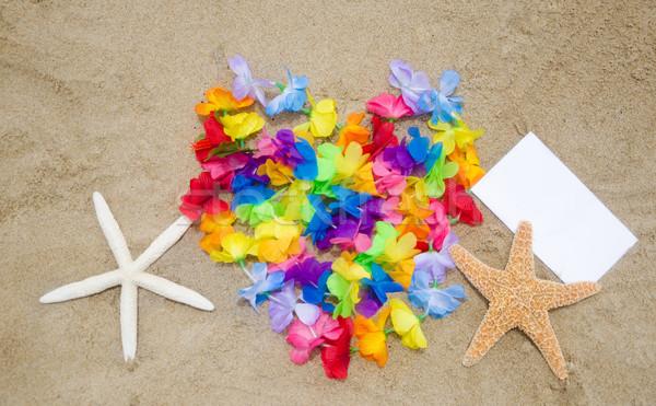 Forma de coração papel praia flores dois peça Foto stock © EllenSmile