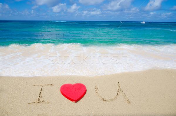 Assinar praia amor vermelho forma de coração céu Foto stock © EllenSmile