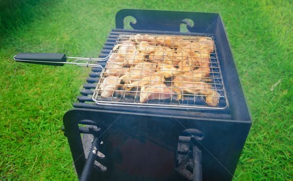 Verão churrasco fresco carne grelha dia Foto stock © EllenSmile