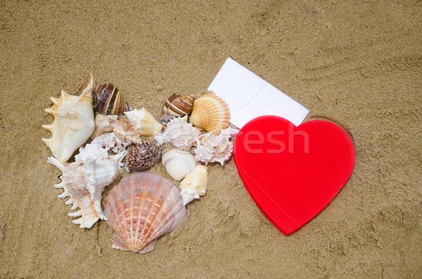 Dois coração formas papel praia vermelho Foto stock © EllenSmile