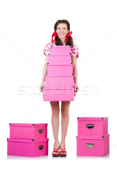 Young woman with storage boxes on white Stock photo © Elnur