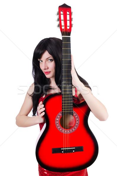 Jóvenes cantante guitarra blanco fiesta metal Foto stock © Elnur