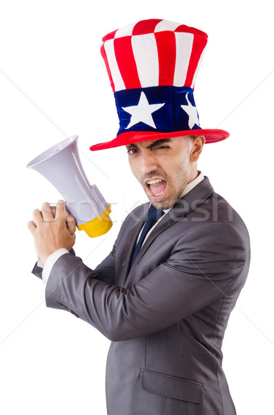 Férfi hangfal amerikai kalap üzlet munka Stock fotó © Elnur